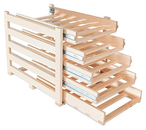Wine Logic In-Cabinet Sliding Tray Wine Rack, 30-Bottle, Solid Maple Wood, Unstained with Clear Satin Lacquer Finish