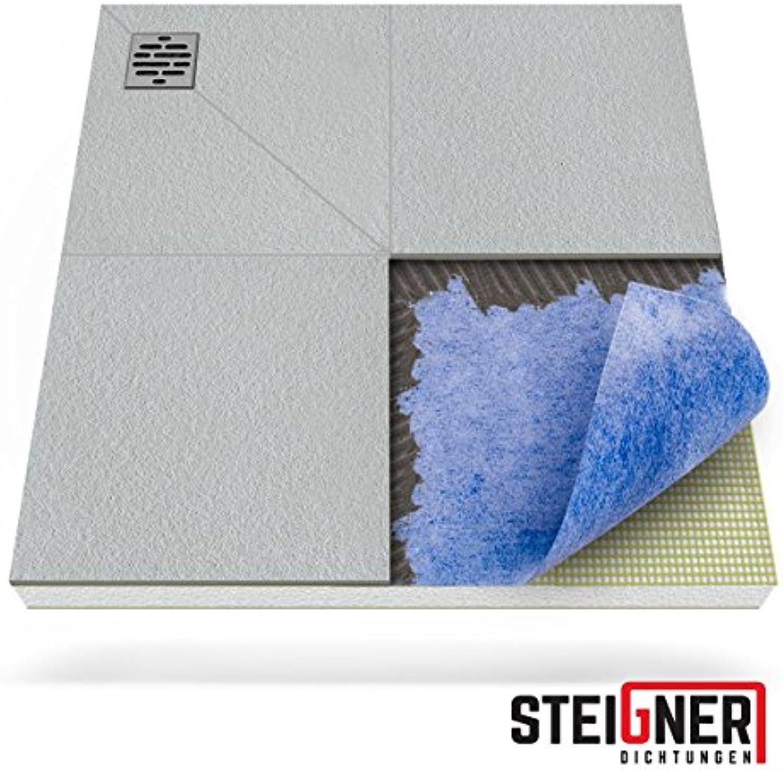 STEIGNER Duschelement inkl. DICHTFOLIE Duschboard befliesbar Dezentral Pos. 1, 80x80cm, EPS Bodenelement, Ablauf WAAGERECHT