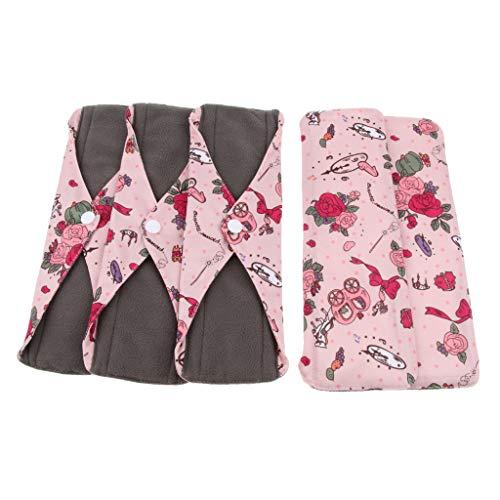 5x Baumwolle Waschbare Stoffbinden Wiederverwendbare Binden mit Flügeln Damenbinden für Menstruation, Inkontinenz - 03