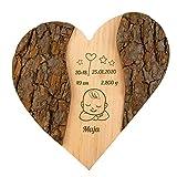 Geschenke 24 Holz Herz zur Geburt: personalisierte Deko mit Gravur - Namen, Datum, Gewicht graviert – Geschenkidee zur Geburt, Taufe (Zur Geburt)