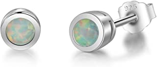 Sterling Silver Tiny Opal Stud Earrings 4mm White Gold
