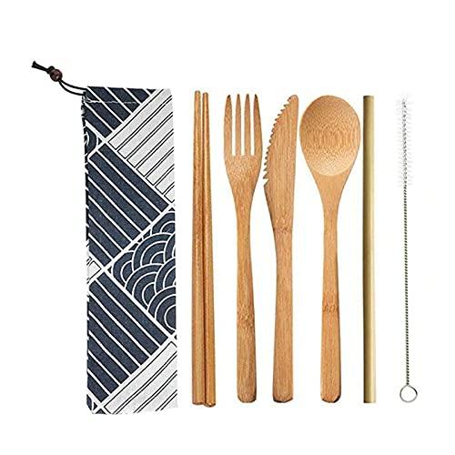 Juego de 6 cubiertos de bambú reutilizables, juego de cuchillos, cucharas, pajitas y tenedores, con cepillo limpio, utensilio reutilizable orgánico cubertería para el hogar, viajes, picnic