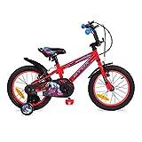 Byox Bicicleta Infantil 16' Monster Rojo, Ruedas de Apoyo, reflectores, sillín Ajustable
