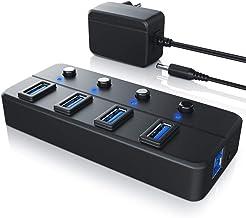 CSL-Computer USB 3.0 Hub 5 GB s de Transferencia de Datos con Interruptor Separado - Concentrador Activo de 4 Puertos - Distribuidor 4Port hasta 5 Gbps - para PC Notebook Laptop Tablet - Negro