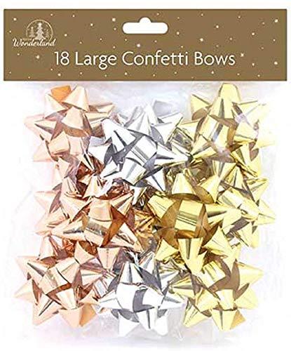 Tallon Christmas 18 große Geschenkschleifen, Silber, Gold und Roségold, für Weihnachten