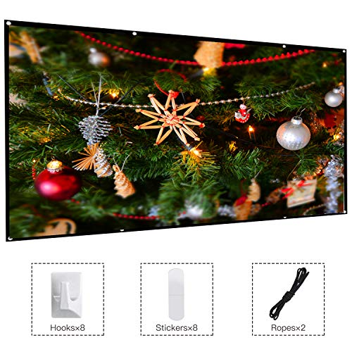 120 Inch Projector Movie Screen, ASINNO Portable Folding Indoor Outdoor 4K HD 16:9 Movie Projection Screen for Meeting/Home/Cinema/Theater/Presentation