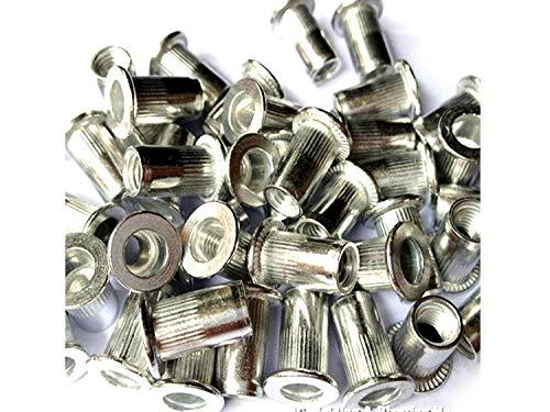 Veda Total 100 pièces de 25 x M4, 25 x M5, 25 x M6, 25 x M8 fileté en aluminium rivet écrou insert