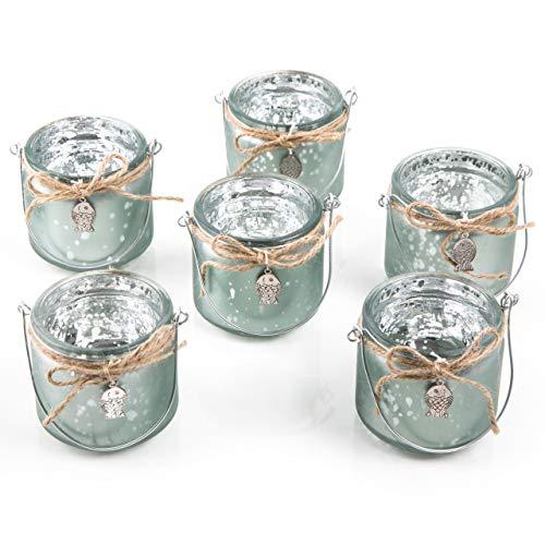 Logbuch-Verlag 6 Teelichthalter aus Glas mit Henkel grün Silber mit Fisch - Maritime Deko Tischdeko Gastgeschenk Taufe Kommunion Hochzeit Kindergeburtstag