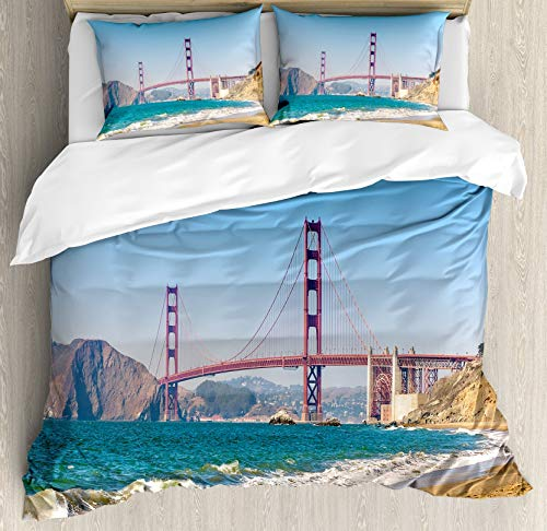 Juego de Fundas nórdicas para paisajes, Vista panorámica del Puente Golden Gate San Francisco Coastline Nature Seascape, Juego de Cama de 3 Piezas con Fundas de Almohada, Azul Turquesa