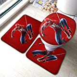 Odelia Palmer Supehrero Spiderman Bath Mat Set de 3 Piezas Juego de alfombras de baño Set de baño y Almohadillas absorbentes para baño y tapete