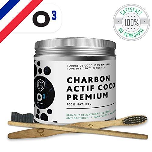 Tillmann's Poudre de Charbon Blanchissante //Pot plus grand// Charbon Dent Blanche-Pour un Sourire blanc et éclatant / Charbon actif 100% Naturel de Noix de Coco