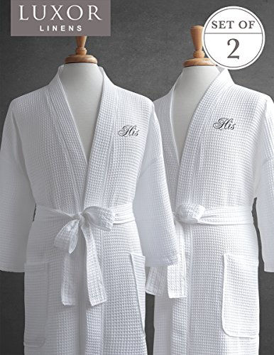 Luxor Linens Same-Sex Couple's Waffle Weave Bathrobe Set-100% Egyptian Cotton-Unisex/One Size Fits Most-Spa Robe, Luxurious,Plush-His/His