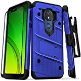 ZIZO Bolt Series Moto g7 Supra Case Military Grade Drop Tested with Full Glass Screen Protector Holster Kickstand g7 Power Blue Black
