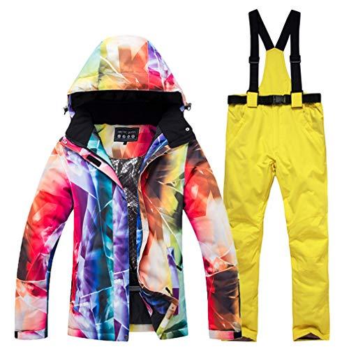 TZTED Ensemble De Pantalon Et Veste De Ski Imperméable, pour Femme, pour L'Extérieur pour Femme Idéal pour Ski Et Snowboard,Jaune,M