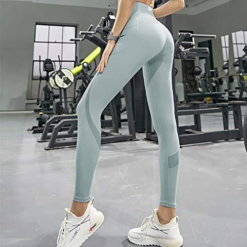 Hohe Taille Yoga Hose Für Damen,Mit Taschen Mädchen Leggings Bauchkontrolle,Slim Fit Sportleggins Weich Atmungsaktiv,Frau Sporthose-Blau Large