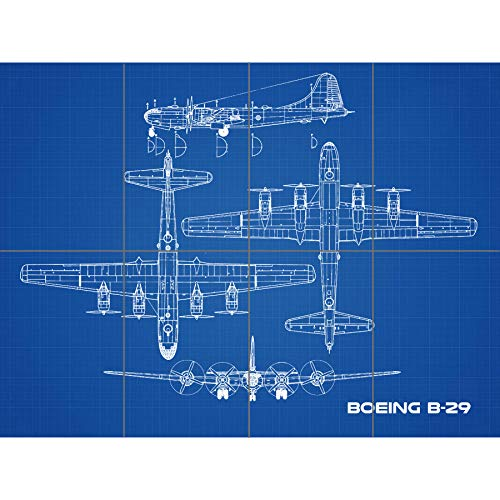 Artery8 Boeing B-29 Superfortress 02 Plane Blueprint Plan XL Giant Panel Poster (8 Sections) súper Avión Azul Póster