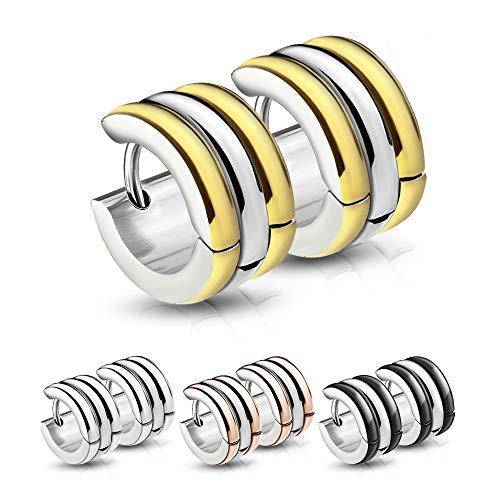 Treuheld®   CREOLEN mit 3 Ringen (Schwarz, Rosegold, Silber, Gold) - Edelstahl - Damen & Herren Ohrringe - mehrreihige Ohrstecker mit Klappverschluss - 7mm breit mit 3 Reihen - Ohrschmuck zum Klappen