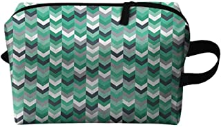 Chevron Portable cosmetic bag Arrow Symmetric Zig Zag Lines in Mix Featured Abstract Image K11.4″xG15.7″ Wear-resistant fashion