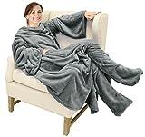 Catalonia TV-Decke Kuscheldecke mit Ärmel und Füßen, Profikuschel Ganzkörper Snuggle Decke zum Anziehen Winter Wolldecke für Erwachsene Frauen und Männer für Geschenk, 190 x 135 cm, Grau