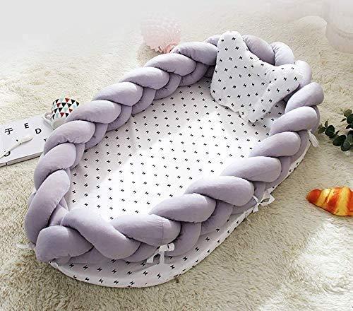 BI-9ベッドインベッドベビー布団三つ編みクッション(防水シーツ付き)枕付きサイドガード結び目添い寝ベッドおむつ換えベビーベッドベッドガードクーファン取り外し洗える可能(グレー)