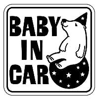 Sticker Shop Haru BABY IN CAR マグネット くま 角型 ブラック