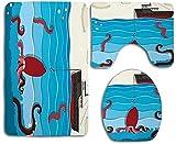 Alfombra de baño Exótico pulpo gigante en ondas toma el cebo de una imagen Nave salvaje de la aguamarina Estampado Tapa blanda Mat antideslizante absorbente de asiento de inodoro Tapa Tapa Alfombra de
