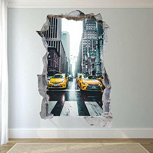 Pegatinas de pared - PEGATINAS DE PARED DE TAXI AMARILLAS DE NUEVA YORK ART MURAL CARTEL OFICINA DECORACIÓN DEL HOGAR - 3D - arte mural - 50x70cm