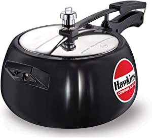 HAWKINS Hawkins Contura Black Pressure Cooker, 5 Litre, Black (Hard Anodized - CB50), Medium