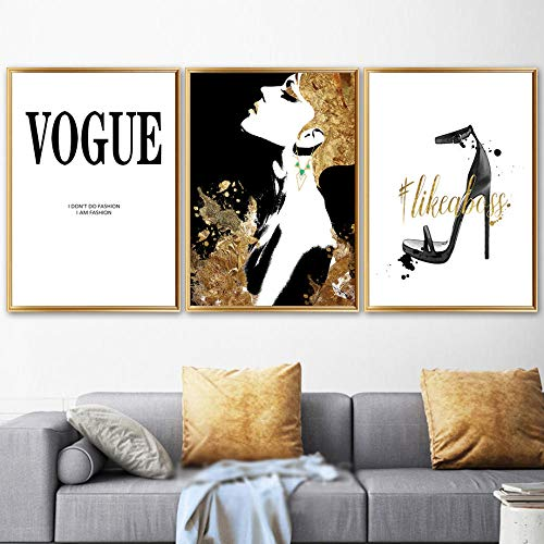 ZLARGEW Fashion Girl Paris Perfume Vestido Arte de la Pared Lienzo Pintura Carteles nórdicos Impresiones Cuadros de la Pared para la decoración estética de la Sala de Estar / 40x50cmx3 Sin Marco