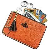AnnabelZ Women's Coin Purse Change Wallet Pouch Leather Card Holder with Key Chain Tassel Zip (Orange)