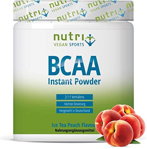 INSTANT BCAA POWDER VEGAN - Hoge dosis aminozuren BCAA's - L-Leucine L-Isoleucine L-Valine 2:1:1 aminozuur - Nutri-Plus - Perzik Ijsleeraroma - Ijsleer Perzik 300g Poeder