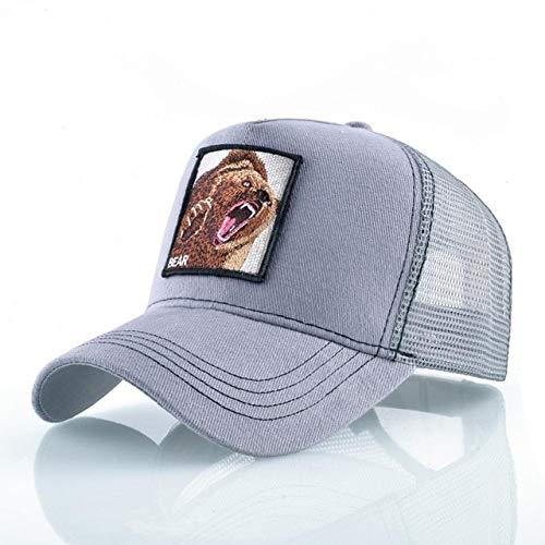Gorras de bisbol de Moda Hombres Mujeres Snapback Hip Hop Sombrero Verano Malla Transpirable Sun Gorras Unisex Streetwear-Gray Bear