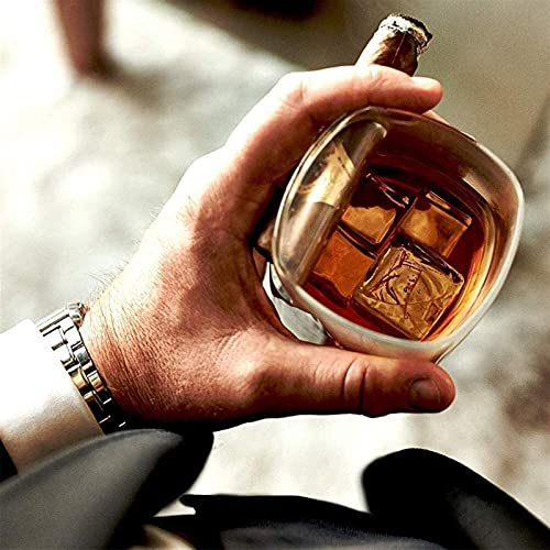 QJTZ Casa Creativa Copa de cigarros Cigarette Cigarette Transparente Cristal Whisky Taza de Beber Cenicero Cenicero Toporte de cigarro Soporte Bebida Copa de Doble propósito 4 Piezas 0826