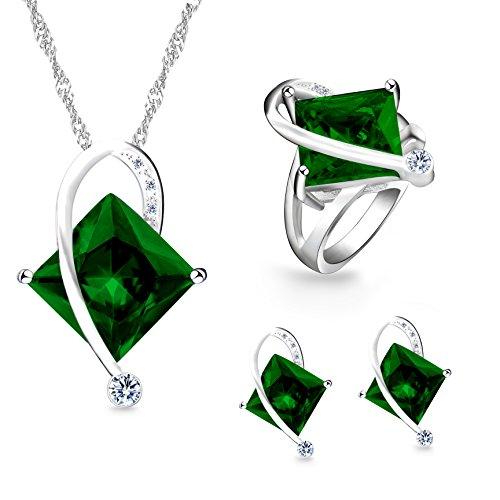 Uloveido Frauen Geometrische Form Simulierte Grüne Topas Silber Kette Halskette Ohrstecker Ohrringe Hübsche Brautschmuck Set (Grün, Größe 57) T295