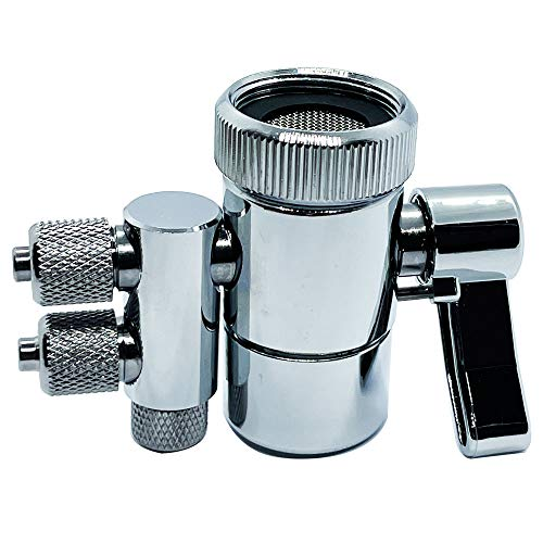 ZIGZAGSTORM Kitchen Sink Faucet Water Filter Dual Diverter Valve for Push on 1/4 inch Tubing Replacement Part Adapter with M22 X M24 Connector, Brass Body, Chrome Plated Made In Taiwan