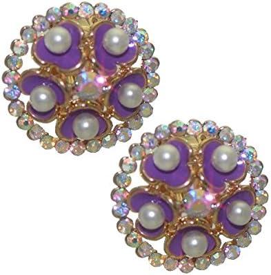 BRYLEN Gold tone Purple Flower AB Crystal Clip On Earrings