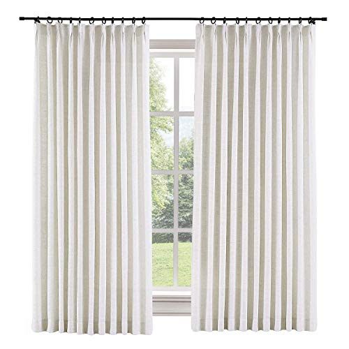 TWOPAGES 52 W x 96 L inch Pinch Pleat Darkening Drapes Faux Linen Curtains with Blackout Lining Drapery Panel for Living Room Bedroom Meetingroom Club Theater Patio Door (1 Panel),Beige White