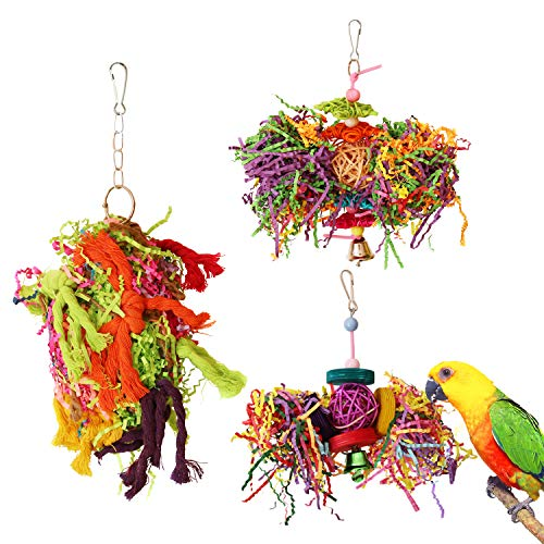 BWOGUE Bird Chewing Toys Parrot Cage Shredder Toy Foraging Hanging Toy for Cockatiel Conure African Grey Amazon (3 Pack)