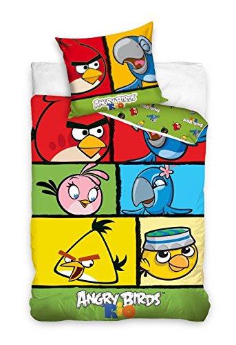 Angry Birds Rio ropa cama funda nórdica de 140x 200+ funda de almohada 70x 80ab7007-p0