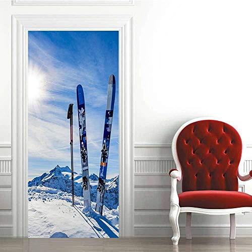 Türaufkleber PVC Wasserdichtes 3D Ski Board Skateboard Türtapete Wandbild Türfolie Türposter Fototapete 90 x 200 cm