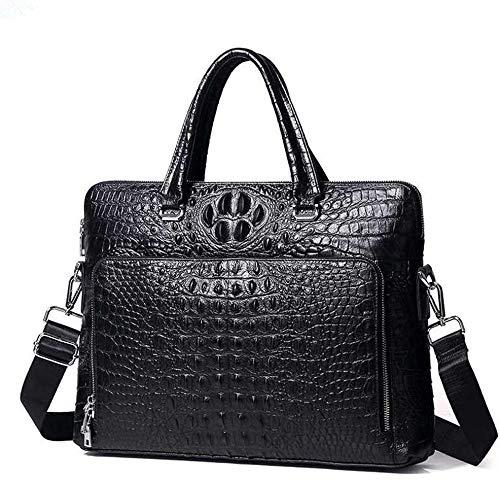 Bolsa de tejido de mensajero retro de maletín de cuero/Maletín de 15 pulgadas Portátil,Black