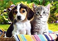 5Dダイヤモンド絵画ダイヤモンド絵画キット動物の猫と犬のクロスステッチモザイク家の装飾フルダイヤモンド刺繍ステッチ装飾、40x50cm