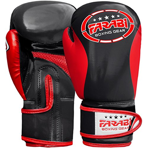 FARABI Kinder Boxhandschuhe, Junior Muay Thai Training Handschuhe, Kinder Boxsack mitt (Black/Red, 4-oz)