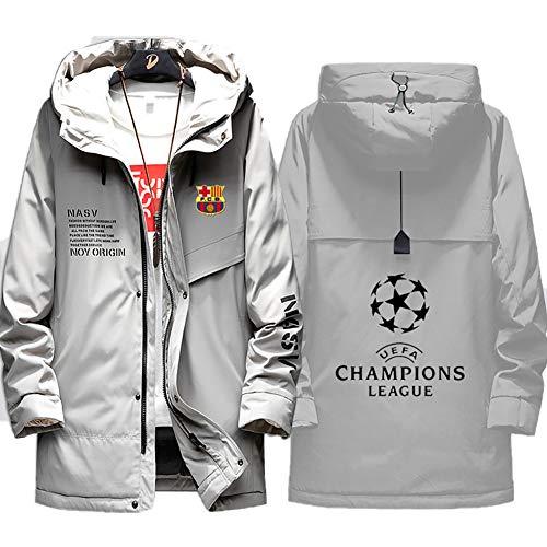 73HA73 Herren Warme Winterjacke UEFA Champions League Futbol Club Barcelona Coat Hoodie Komfortable Übergangsjacke Sweatshirt Jacken (No Shirt),Gray,XL(175-180cm)