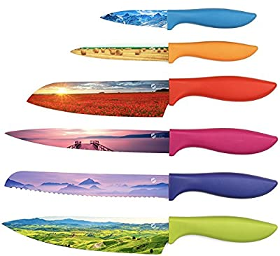 Colored Kitchen Chef Knife Set - Beautifully Designed Razor-Sharp Large and Small Cooking Knives with Non-Stick Surface Finish and Gift Box - By Golden Coast Cutlery