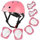 KAMUGO Kids Adjustable Helmet, with Sports Protective Gear Set Knee Elbow Wrist Pads for Toddler Age 3-8 Boys Girls, Bike Skateboard Hoverboard Scooter Rollerblading Helmet Set(Pink)