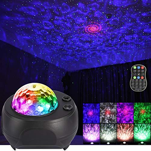 LUNSY 銀河プロジェクター 星月夜灯プロジェクター 3イン1 ブレットースミュージックスピーカー LED星雲プロジェクター 寝室 誕生日 雰囲気パーティー用
