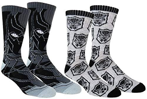 Marvel Mens Black Panther Athletic Socks 2 Pair Pack