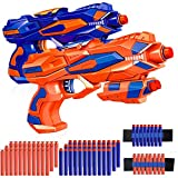 2 Pack Blaster Guns, Toy Guns for Boys with 60 Pcs Refill Soft Foam Darts and 2 EVA Wrist Band Gun Accessories, Suitable...