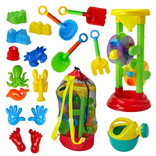 Dragon Too Kids Beach Toy Set –19 Piece Kit in Mesh Backpack Bag - Shovels, Scoops, Buckets, Waterfall, Shapes and More for Sand Castles, Water Play and Sand Boxes